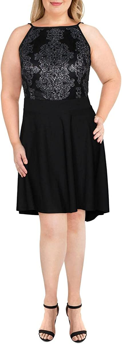 Speechless Womens Plus Caviar Cocktail Hi-Low Fit & Flare Dress Black 20