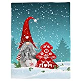 Vandarllin Merry Christmas Gnomes Throw Blankets, Red Xmas Tree Snowflake Reindeer Soft Fleece Blanket Decorative for Home Sofa Couch Chair Living Bedroom,50x60 inches, Blue