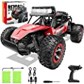 BEZGAR 17 Toy Grade 1:14 Scale Remote Control Car, 2WD High Speed 20 Km/h All Terrains Electric Toy Off Road RC Monster Vehicle Truck Crawler with Two Rechargeable Batteries for Boys Kids and Adults by BEZGAR