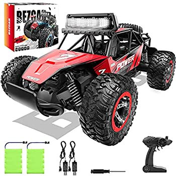 BEZGAR 17 Toy Grade 1 14 Scale Remote Control Car 2WD High Speed 20 Km/h All Terrains Electric Toy Off Road RC Monster Vehicle Truck Crawler with Two Rechargeable Batteries for Boys Kids and Adults