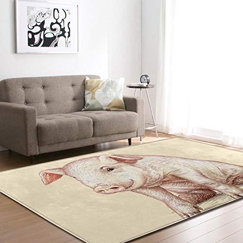 VBUEFM Wollteppich Gelbes weißes rotes Tierschwein Shaggy Teppich Wohnzimmer Plüsch Teppich,Decke aus Kunstfell Naturfaserteppich für Whnzimmer und Schlafzimme 200 x 300 cm
