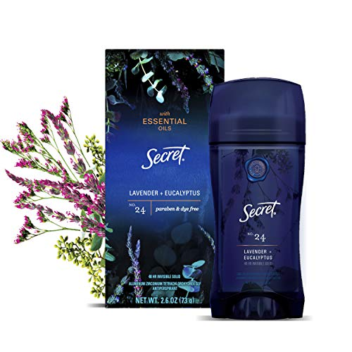 Secret Antiperspirant Deodorant for Women With Pure Essential Oils, Paraben Free, Lavender & Eucalyptus Scent, 2.6 Oz