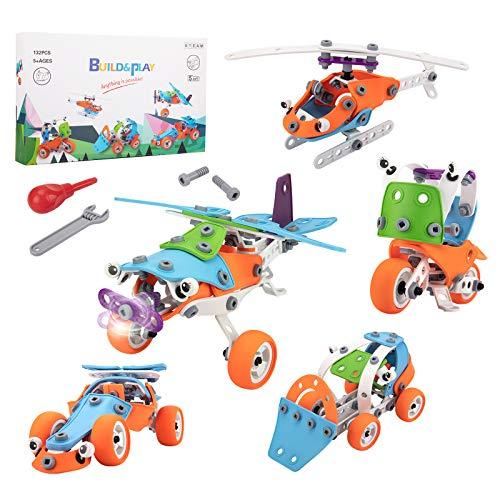 STEM Toys for Kids 6-10 Years Old, 163Pcs Engineering Building Model Erector Set,...
