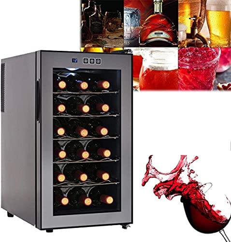 ZRKJ-jl Refrigerador de vino refrigerador, refrigerador vino incorporado o independiente con luz LED azul, control táctil del sensor, nevera de exhibición de vino para rojo, blanco, champán o vino esp