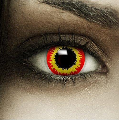 Farbige Kontaktlinsen ohne Stärke Ork + Kunstblut Kapseln + Kontaktlinsenbehälter, weich ohne Sehstaerke in rot und gelb, 1 Paar Linsen (2 Stück)