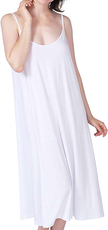 Lu's Chic Women's Bamboo Nightgown Cami Cotton Sleepwear Plus Size Sleeveless Loungewear