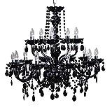 15-flammiger Design Kronleuchter BLACK CRYSTAL schwarz 15-armig Lüster Lampen Hängeleuchte Deckenlampe