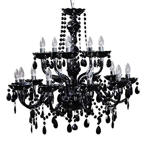 15-flammiger Design Kronleuchter schwarz 15-armig Lüster Lampen Hängeleuchte Deckenlampe