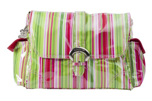 Kalencom - Bolso cambiador, diseño plastificado con hebilla multicolor Jazz - rayas rojas