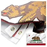 VSVO California Republic Bear State Flag 3x5 ft. Durable 300D Nylon with Embroidered for Outside - Sewn Stripes - Brass Grommets - UV Protection CA State Flags.