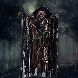 New_Soul Halloween Sorcière Squelette fantôme Crâne Animé Suspension Effrayant, Halloween Décoration Sorcièr Yeux Lumière Terreur Contrôle Vocal (Coffee)