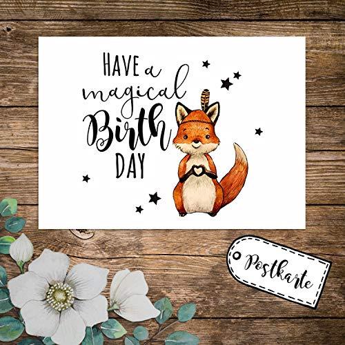 ilka parey wandtattoo-welt A6 Geburtstagskarte Postkarte Geburtstag Print Fuchs Indianerfuchs mit Spruch Have a Magical Birthday Sterne pk234 - ausgewählte Menge: *1 Stück*