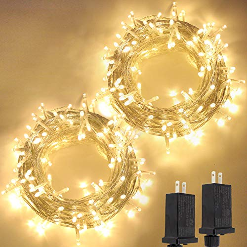 2-Pack Extendable Christmas String Lights Outdoor/Indoor, Super Bright 200 LED Christmas Tree Lights with 8 Modes, Waterproof Fairy Lights for Wedding Party Garden Bedroom (Warm White)