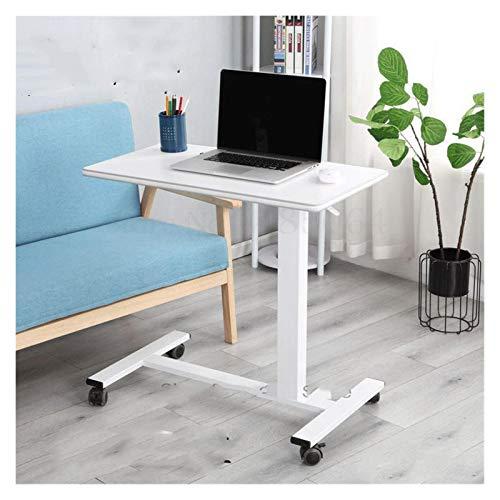 RTYU Mesa de noche móvil con ruedas para ordenador portátil, mesa auxiliar de elevación neumática, ajustable, mesa auxiliar para bocadillos (color: blanco)