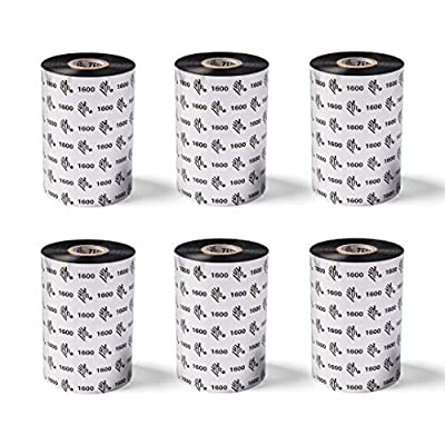 Zebra High-Performance Black Wax/Resin Ribbon for Industrial Thermal Transfer Printers 4.33 in Wide 1476 ft Long 1 in Core 6 Rolls 10031730SP