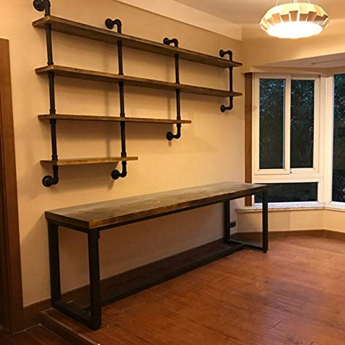 MBQQ 4-Tiers 63inch Industrial Pipe ShelvingRustic Wooden&Metal Floating ShelvesHome Decor Shelves Wall Mount with Wine RackDecorative Accent Wall Book Shelf for Kitchen or Office OrganizerBlack