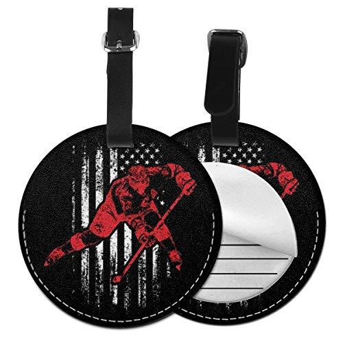 Kofferanhänger PU Leder Eishockey USA Flagge Geburtstag Weihnachten, Gepäckanhänger ID Etikett Mit Adressschild Namenschild für Reisetasche Koffer