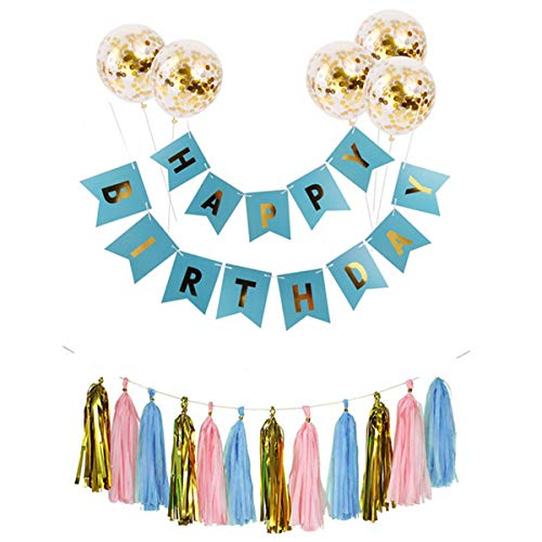 Rose Gold Birthday Party Decorations Colorful Bunting Banner Garland Flags Shiny Gold Letters Party Supplies Confetti Balloons Tassels