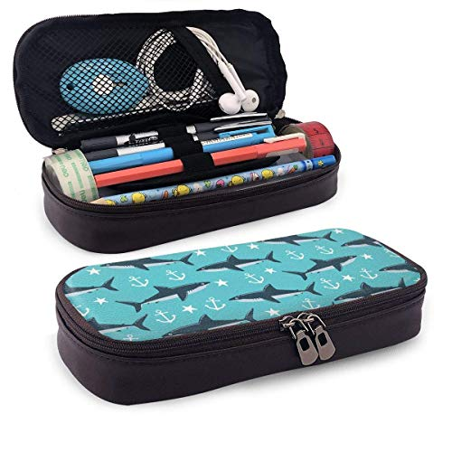 Astuccio Shark Nautical Blue Tail Pattern a tema Stampato Mini School Portamatite Tasca per ufficio Scatola per penne Borsa con cerniera Set PU Leathc'è zip per accessori per ragazze