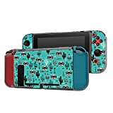 Dockable Case Compatible with Nintendo Switch Console and Joy-Con Controller, Patterned ( Desert animal raccoon arrows and cactus garden illustration ) Protective Case Cover with Tempered Glass Screen