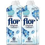 Flor Original - Suavizante concentrado para la ropa, aroma Original - Pack de 4, hasta 320 dosis
