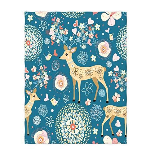 YISUMEI Decke 150x200 cm Kuscheldecken Sanft Flanell Weich Fleecedecke Fabelhaftes Blumen Rotwild Muster