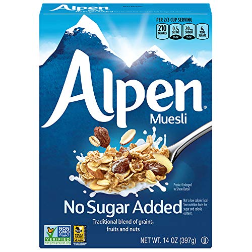 Alpen No Sugar Added Muesli, Swiss Style Muesli Cereal, Whole Grain, Non-GMO Project Verified, Heart Healthy, Kosher, Vegan, No Sugar Added, 14 Oz Box (Pack of 6)