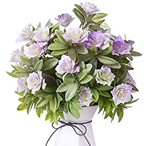 YILIYAJIA Artificial Flowers Fake Plastic Gardenia Faux Floral Bouquets Greenery Plants Bushes Outdoor UV Resistant for Home Office Table Outside Decoration (Purple)