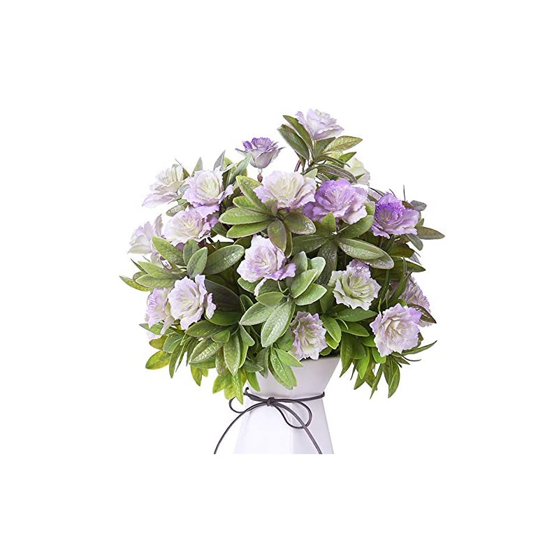 silk flower arrangements yiliyajia artificial flowers fake plastic gardenia faux floral bouquets greenery plants bushes outdoor uv resistant for home office table outside decoration (purple)