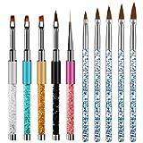 Pinceles Para Uñas Acrilicas Profesional,Liwein 10 Piezas Acrilicas Pinceles Uñas de Gel Decoracion Nail Art Acrílico Pincel de Gel UV Cepillo para Uñas de Bricolaje Pintura Escultura