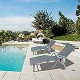 Kozyard Cozy Aluminum Beach Yard Pool Folding Reclining 7 Adjustable Chaise Lounge Chair (2 Pack, Gray)