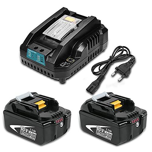 Moticett 2 Paquetes de Batería BL1860B y Cargador 14,4-18V 3A DC18RC Batería Li-ion de 18V de Repuesto para Makita BL1860B BL1850 BL1840B BL1830B LXT-400 y DC18RCT DC18RA DC18RD Cargador