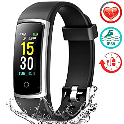 FITFORT Smart Fitness Tracker Watch - Heart Rate Blood Pressure Sleep Monitor with IP68 Waterproof, Calorie Counter Pedometer Watch for Women Men and Kids from FITFORT