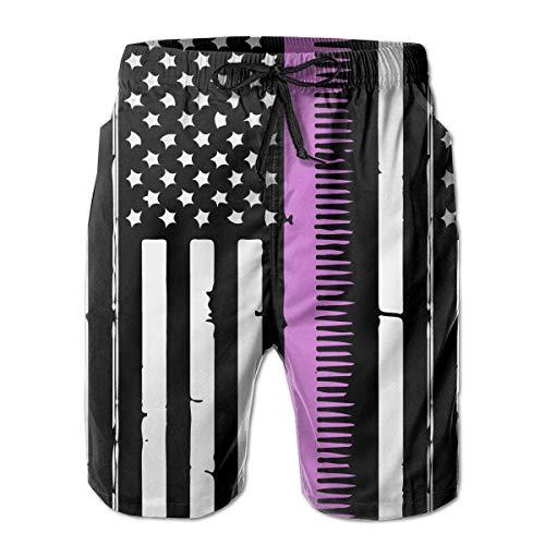 BEST&&SHIRT Retro Distressed Hair Stylist American Flag Mens Quick Dry Short Swim Trunk Surf Beach Shorts Slim Fit with Pockets White