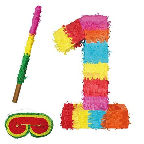 Party Factory Pinata Zahlen Set 0-9 + Stab + Augenmaske Kinder Geburtstag Schlag-Pinata 50 x 35 x 8cm Dekoration Geburtstagsdeko (1)
