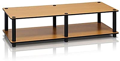 Furinno Just No Tools Wide Light Cherry Television Stand with Black Tube