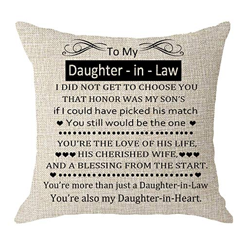 NIDITW to My Daughter-in-Law Stepdaughters Wedding Present I Did Not Get to Choose You That Honor Cream Body Burlap Throw Pillow Case Cushion Cover Sofa Living Room Decorative Square 18X18 inches
