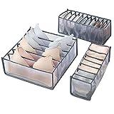 JWGD La Ropa Interior Calcetines Panty Cajas de almacenaje Gabinete organizadores Armario ropero Organización de la casa del cajón Divisor Ahorrar Espacio Dormitorio (Color : Gray 3pcs Set)