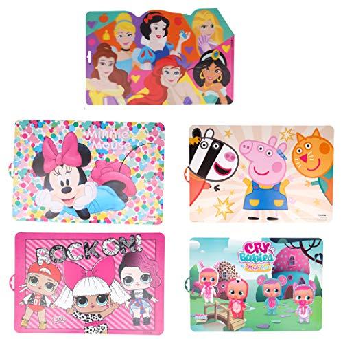 Pack de 5 manteles Individuales Infantiles de Princesas Disney (3D), LOL Surprise, Minnie Mouse, Peppa Pig y Cry Babies - Plásticos Libres de BPA (5 Manteles Tonos Rosas)