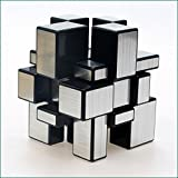 EasyGame - 3x3x3 Espejo Plata Speed Cube Puzzle Blanco Cuerpo + Plata ticker (Plata + Negro)