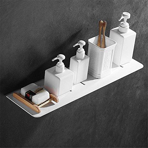 Sans poinçon salle de bains étagère salle de bain murale porte-serviettes cosmétique cadre avant monocouche miroir blanc