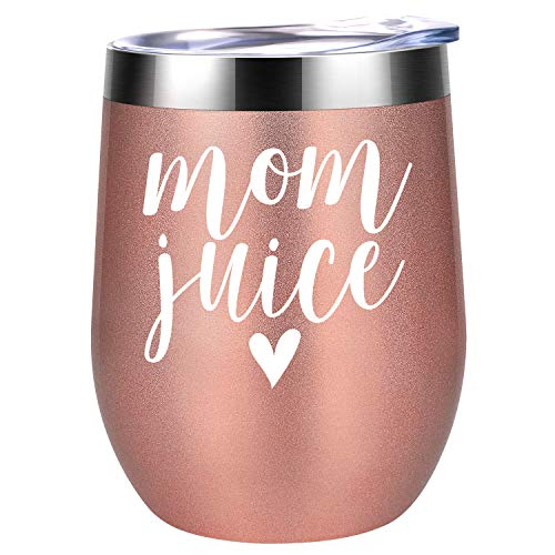 Valentines Day Gifts for Mom, Wife - Mom Juice - Funny Mom Gifts from Daughter, Son - Best Mom Birthday Gifts Ideas for Mom Friend, New Mom, Pregnant Mom, Mom to be, Her - Coolife Wine Tumbler Mom Mug