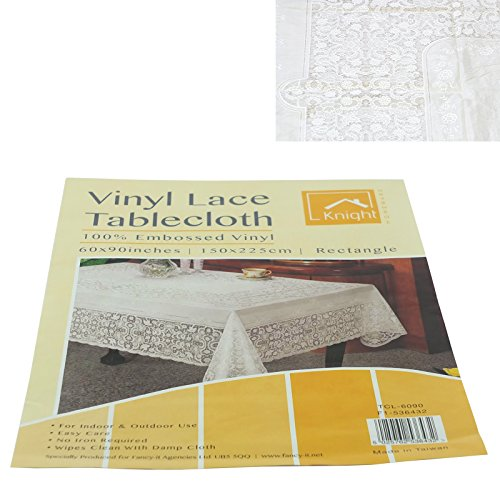 100% Vinyl Tablecloth Cover In Various Pattern (150 X 225CM Rectangle, Lace) by Home Garden Online