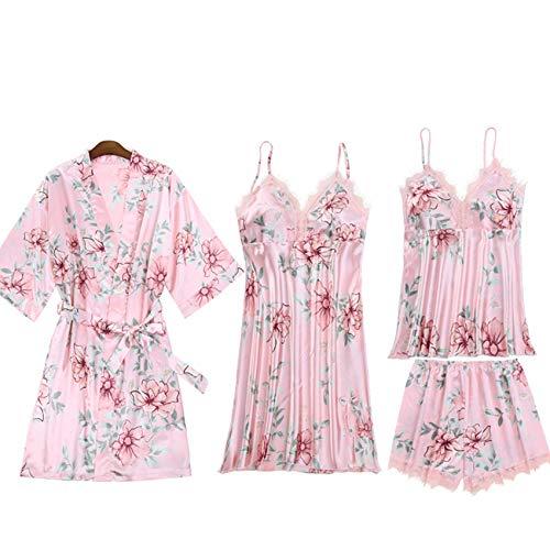 Pijama De Cinco Piezas para Mujer De Primavera Y OtoO con Almohadillas En El Pecho, CamisN Sexy, CamisN De Encaje De Seda De Hielo para Mujer De Verano