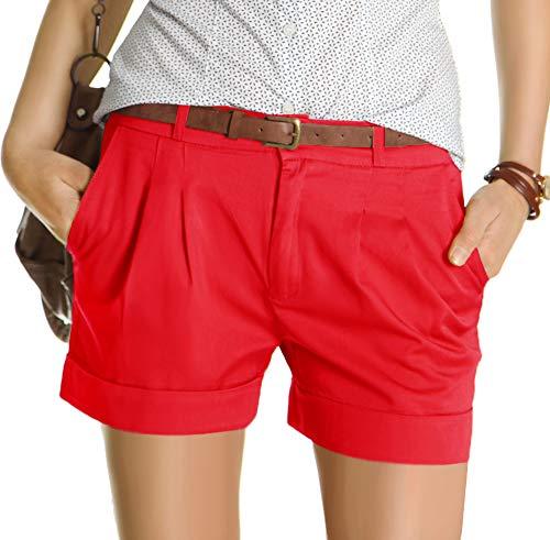bestyledberlin Damen Shorts, Kurze Chino Hosen, Damenhosen, Bundfaltenhosen j161p 40/L rot