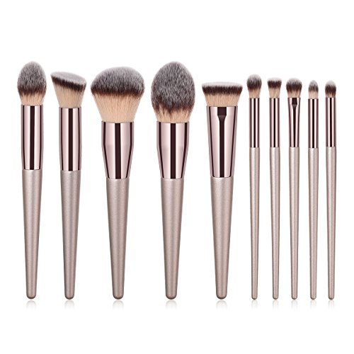 BBL 10pcs Luxury Makeup Brushes Set, Premium Synthetic Hair Cosmetic Brushes for Foundation Blending Powder Liquid Cream Tapered Concealer Contour Eye Shadow Blush Nose Shading Champagne Gold