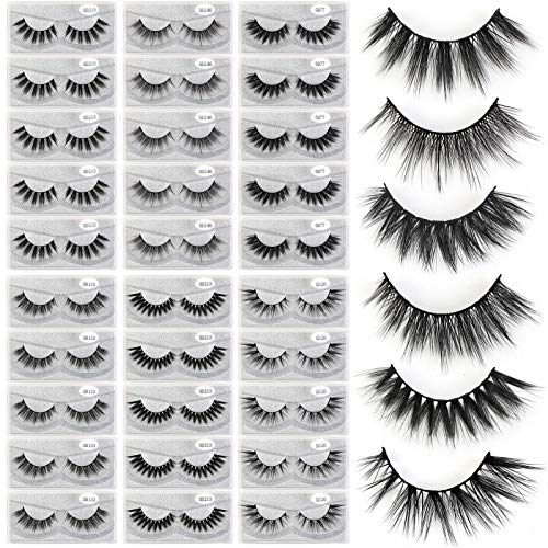 MAGEFY 30 Pairs 6 Styles Faux Mink Eyelashes, Natural Look to Dramatic Fluffy False Eyelashes, Handmade Reusable Soft Fake Eyelashes (30 Pairs + 30 Portable Boxes)