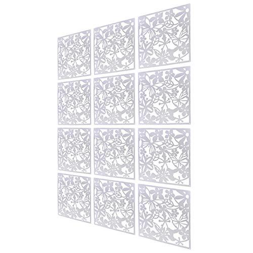 Set di 12 pannelli divisori da appendere, Pannello Schermo in legno-plastica, per soggiorno, sala da pranzo, studio e salotto, hotel, bar, decorazione da 40 x 40 cm (Bianco)