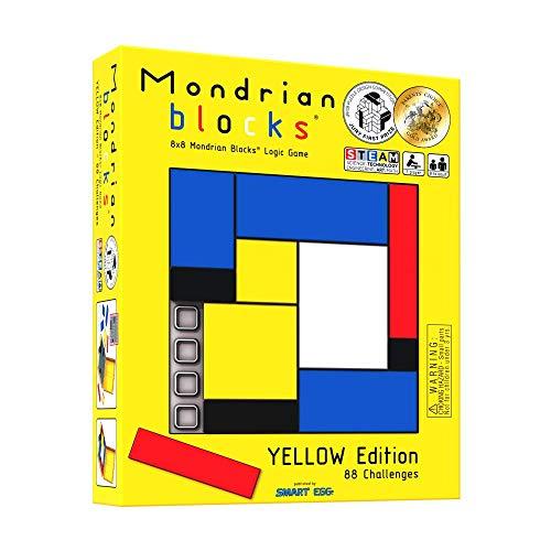Mondrian Blocks premiado rompezabezas, Juego de Viaje Compacto a Bordo, Edición Amarilla