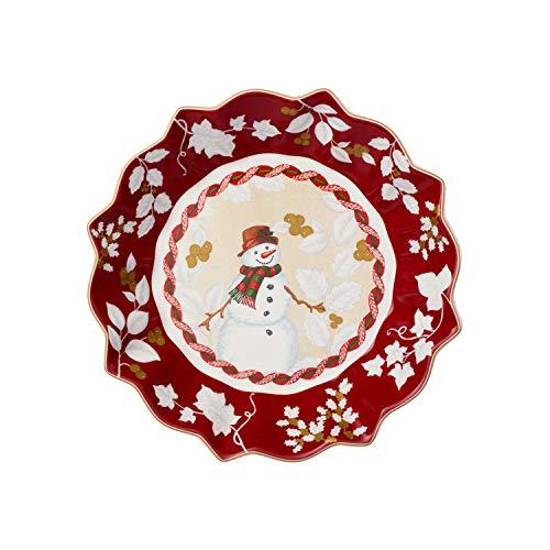 Villeroy & Boch Toy's Fantasy Ciotola Grande Motivo, Porcellana, Rosso/Multicolore (Pupazzo di Neve)